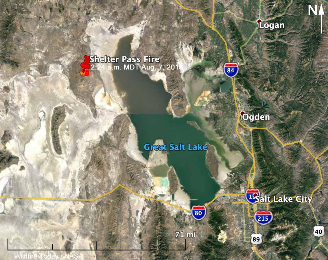 map Shelter Pass Fire Great Salt Lake