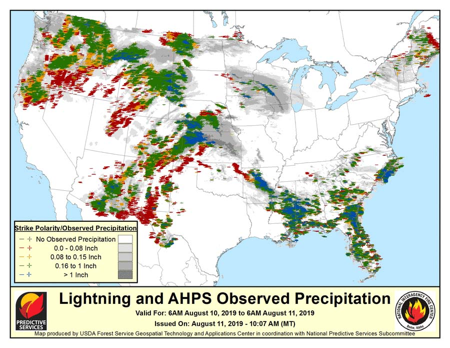 Lightning strikes map