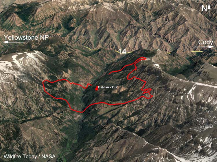 map Fishhawk Fire Cody Yellowstone