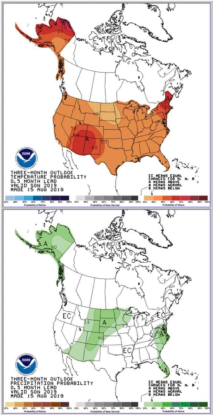 90-day temp precip forecast