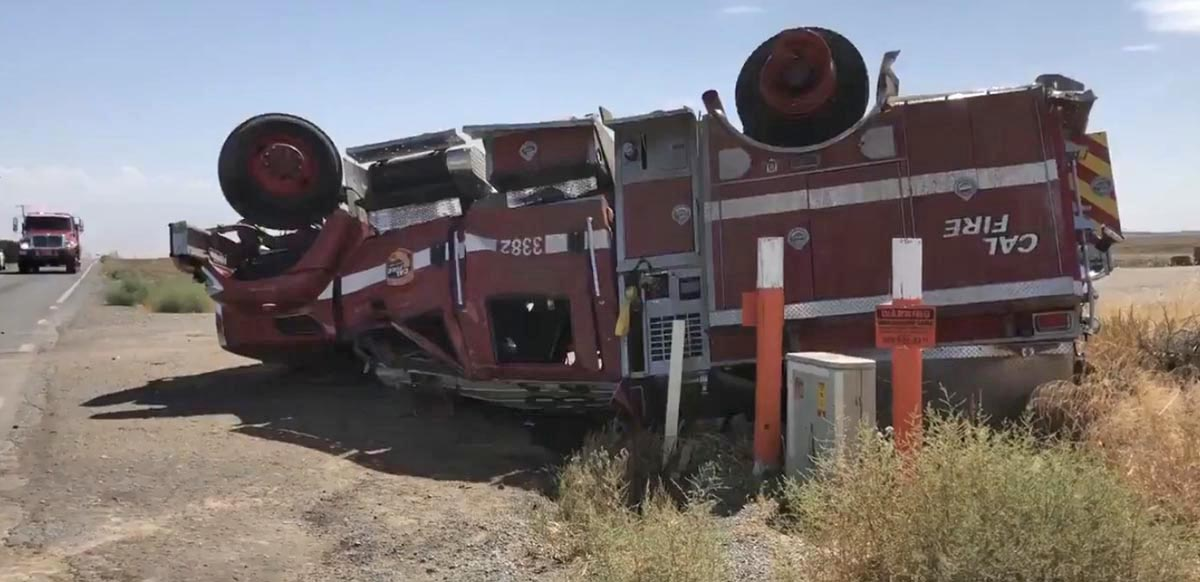 CAL FIRE engine rollover Porterville
