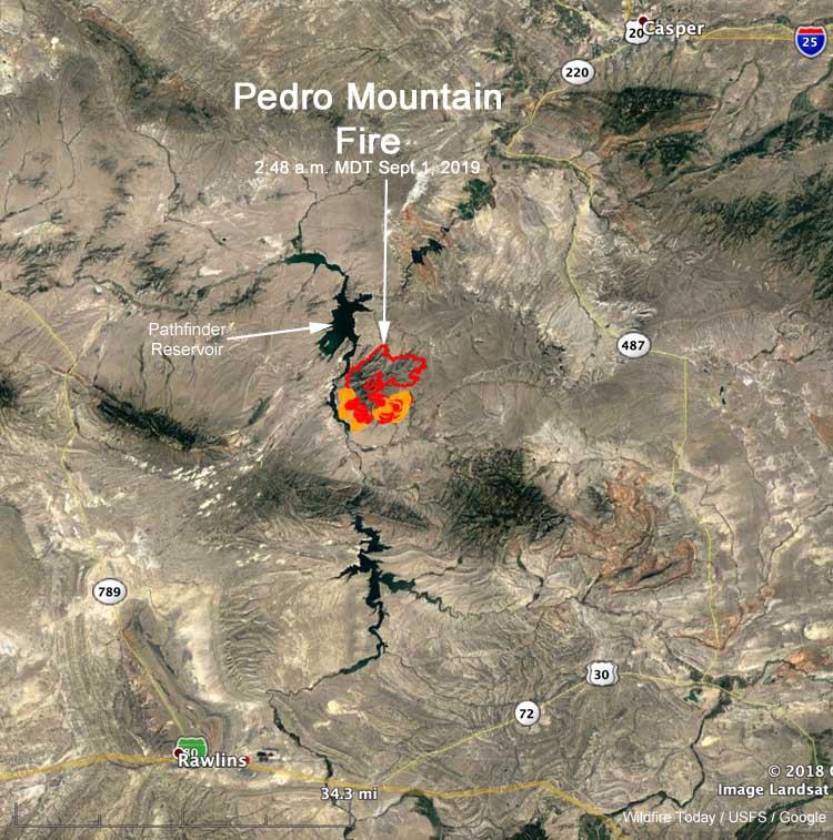 Map location Pedro Mountain Fire