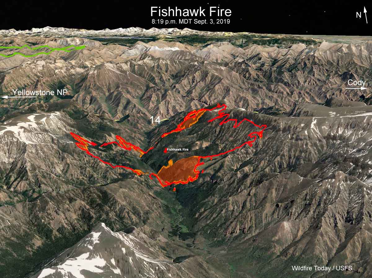 map Fishhawk Fire Cody Yellowstone