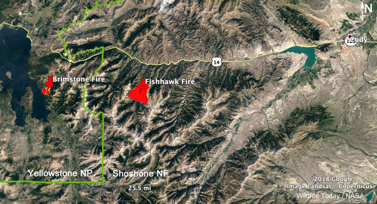 map Fishhawk Fire Cody Yellowstone Brimstone