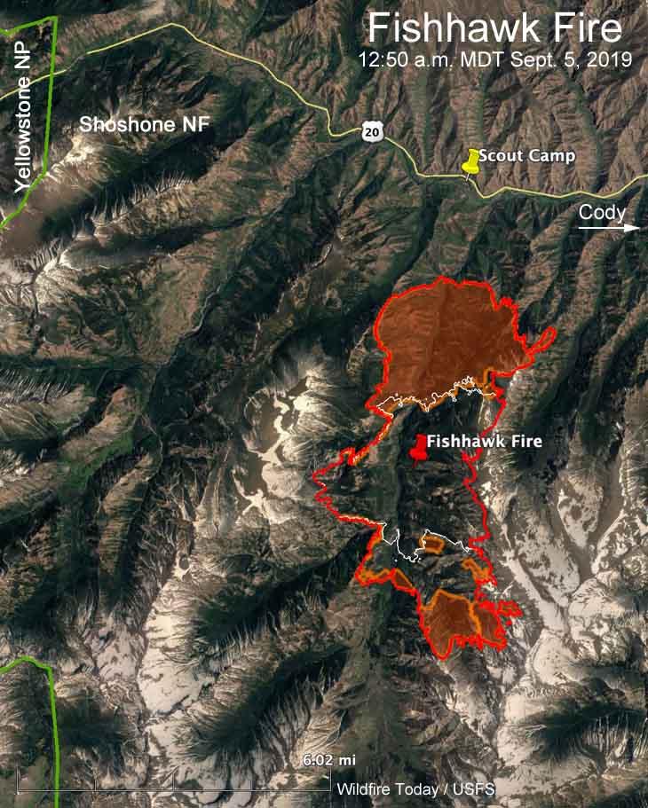 Yellowstone Cody Map location Fishhawk Fire