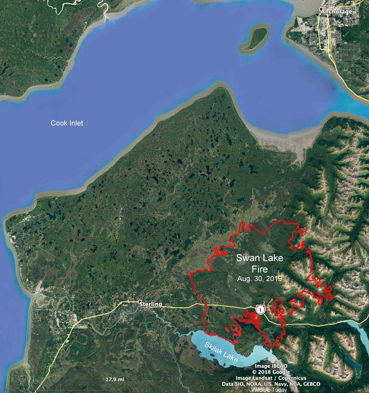 Map Swan Lake Fire August 30, 2019