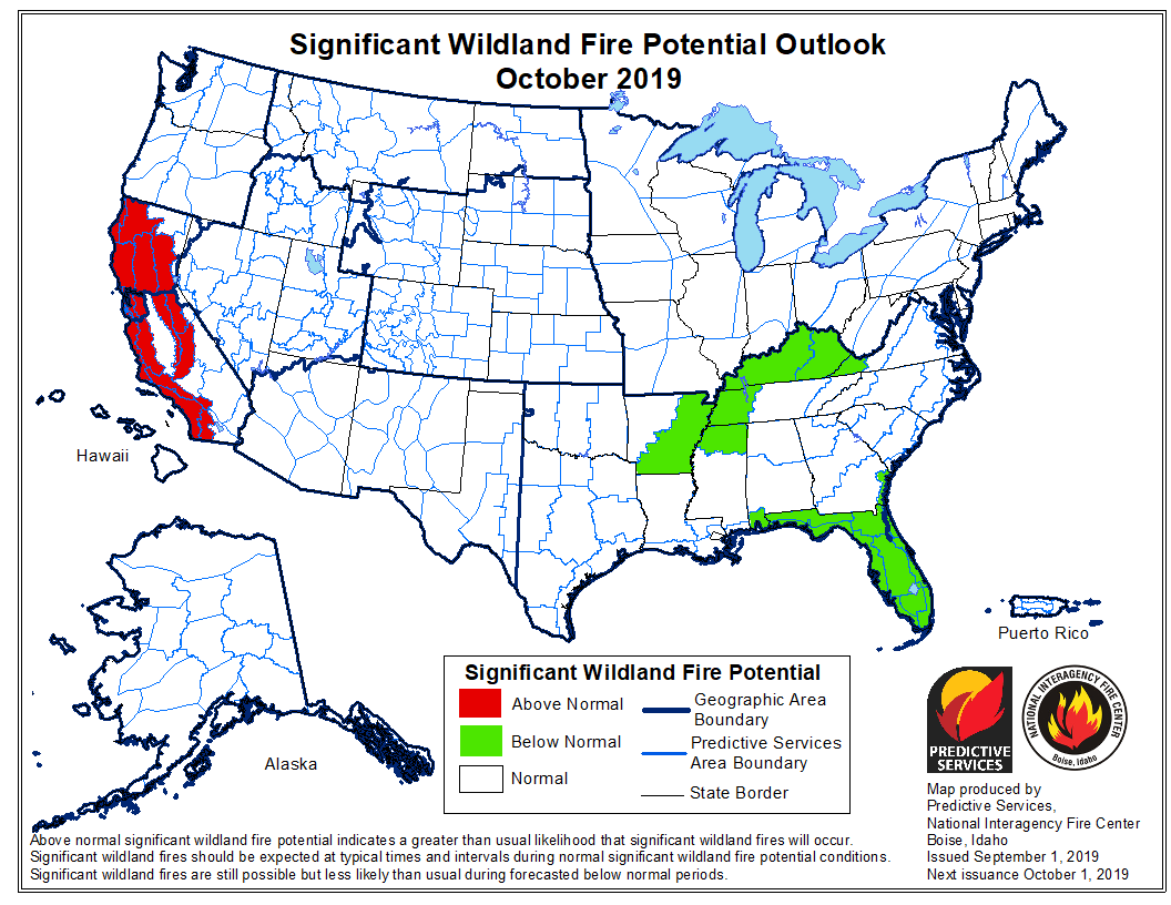 October 2019 wildfire outlook