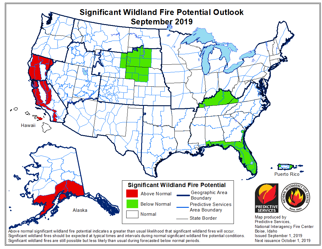 September 2019 wildfire outlook