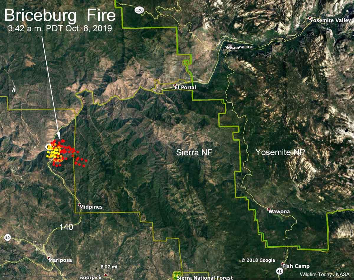 map Briceburg Fire Yosemite highway