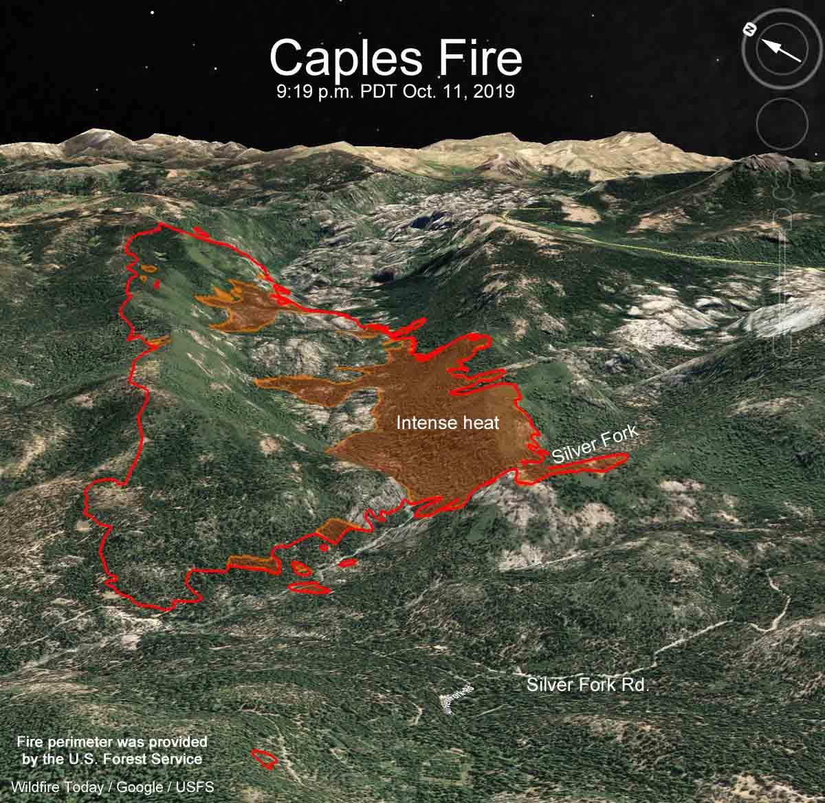 Caples Fire 3-D map