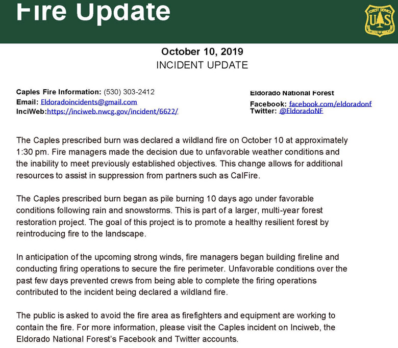 Caples Fire escaped prescribed fire information