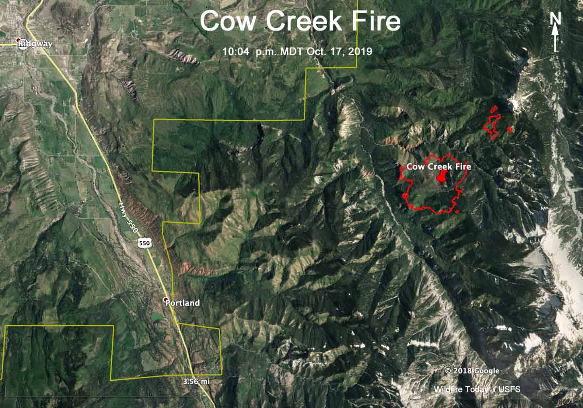 map cow fire colorado ridgway