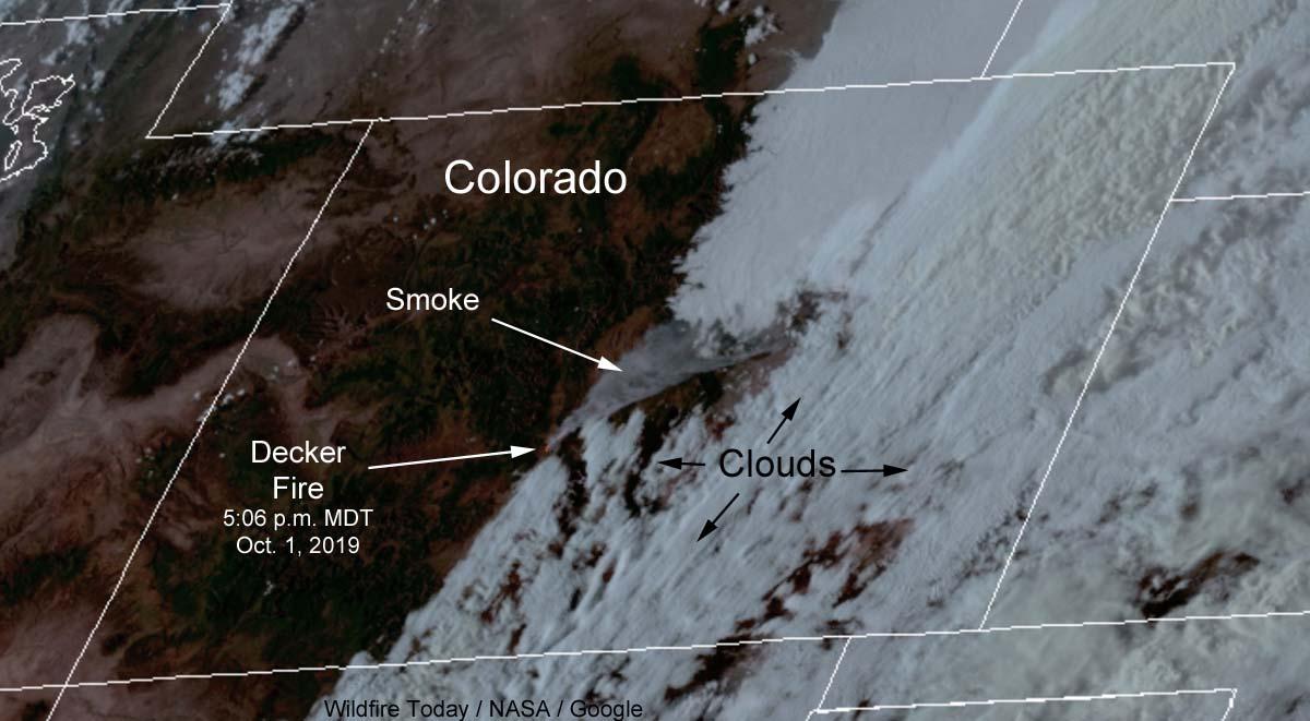 satellite photo smoke decker fire colorado