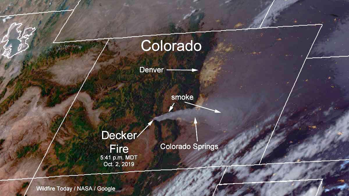 Satellite photo smoke Decker Fire