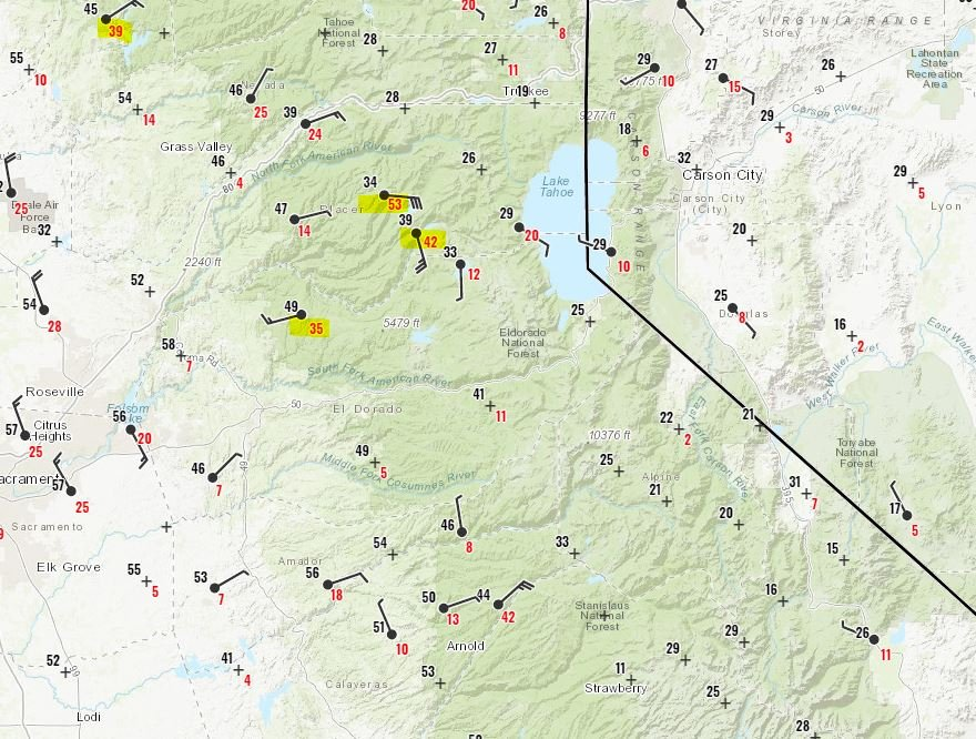 Observed wind speeds in California
