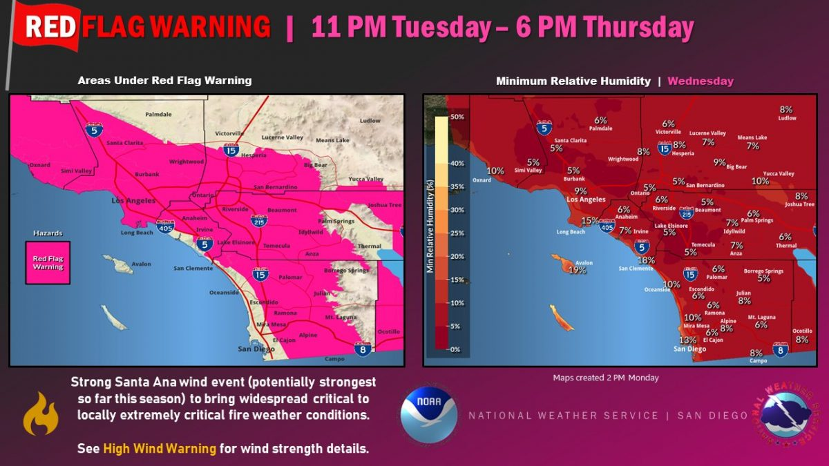 Critical to extremely critical fire weather predicted for southern California