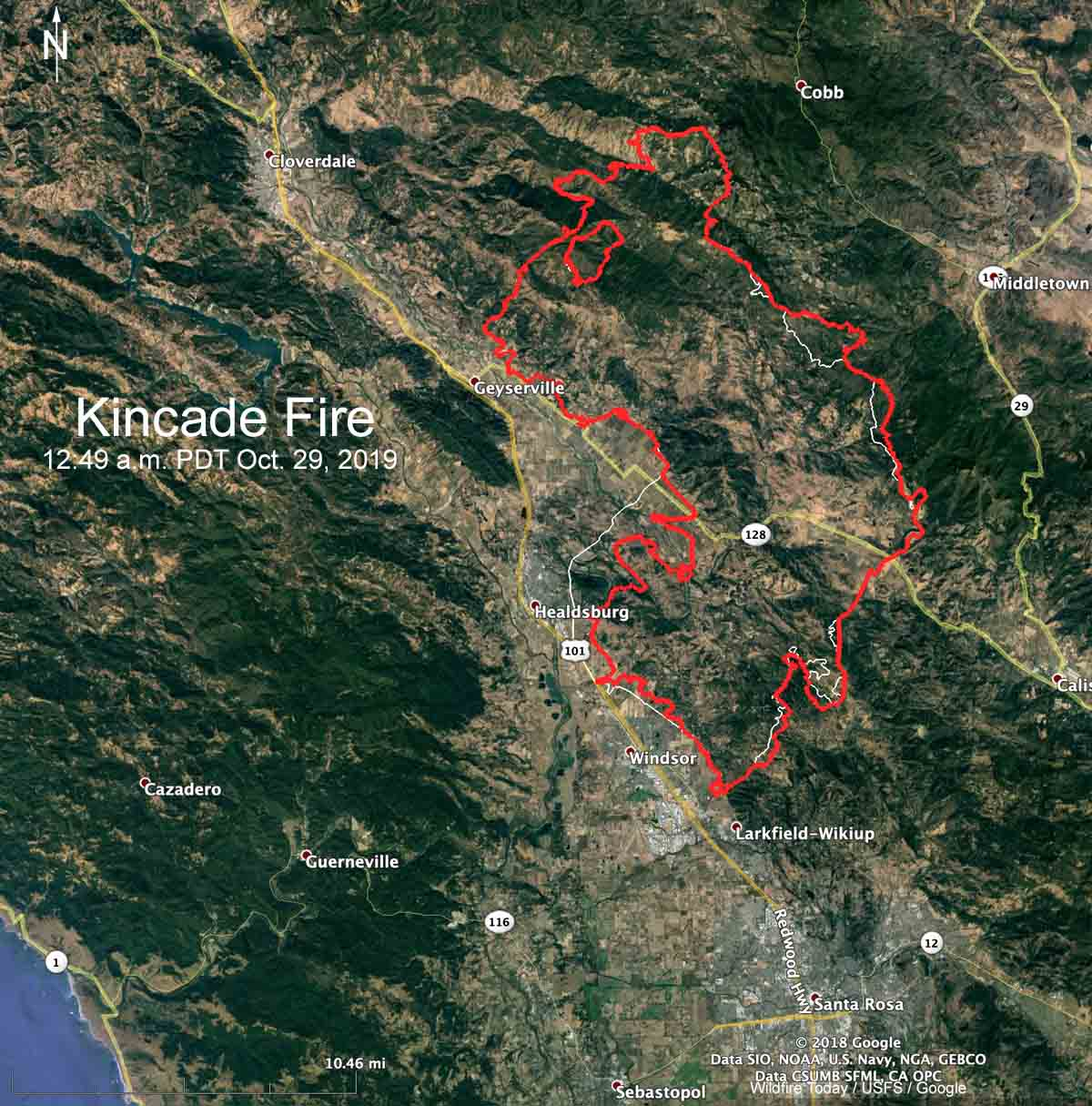 map kincade fire California wildfire