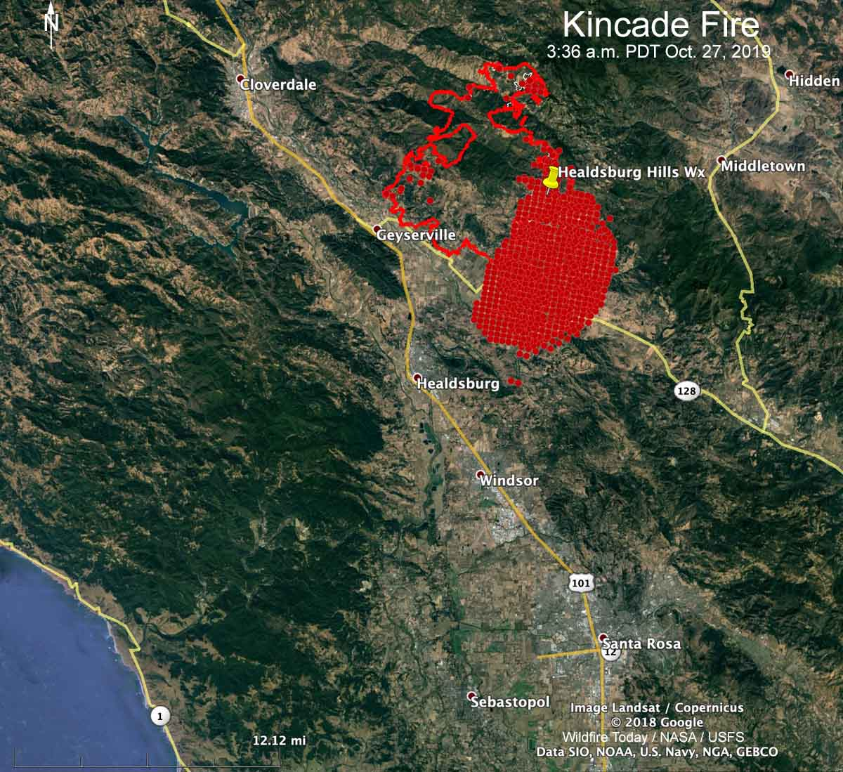 map perimeter of the Kincade Fire