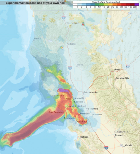 northern california San Francisco Forecast near surface smoke northern California