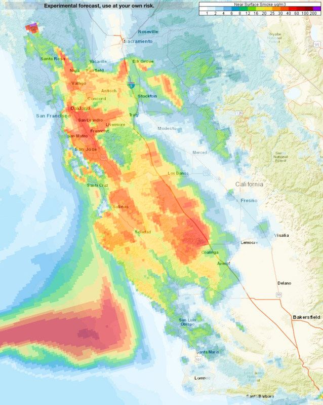 forecast 4 a.m. PDT October 26 fire wildfire smoke