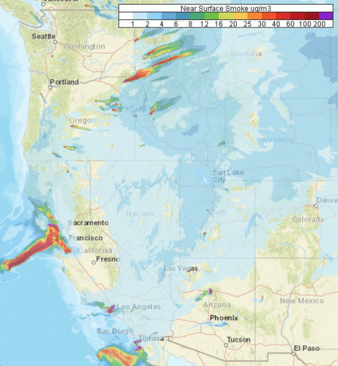 northern california San Francisco Forecast near surface smoke western united states
