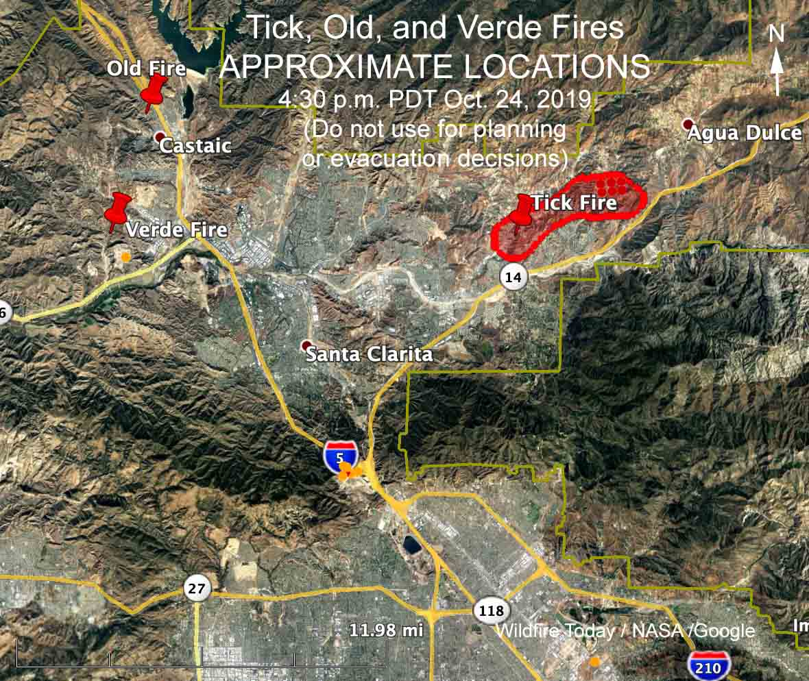 LOCATIONS of the Tick, Verde, and Old Fires