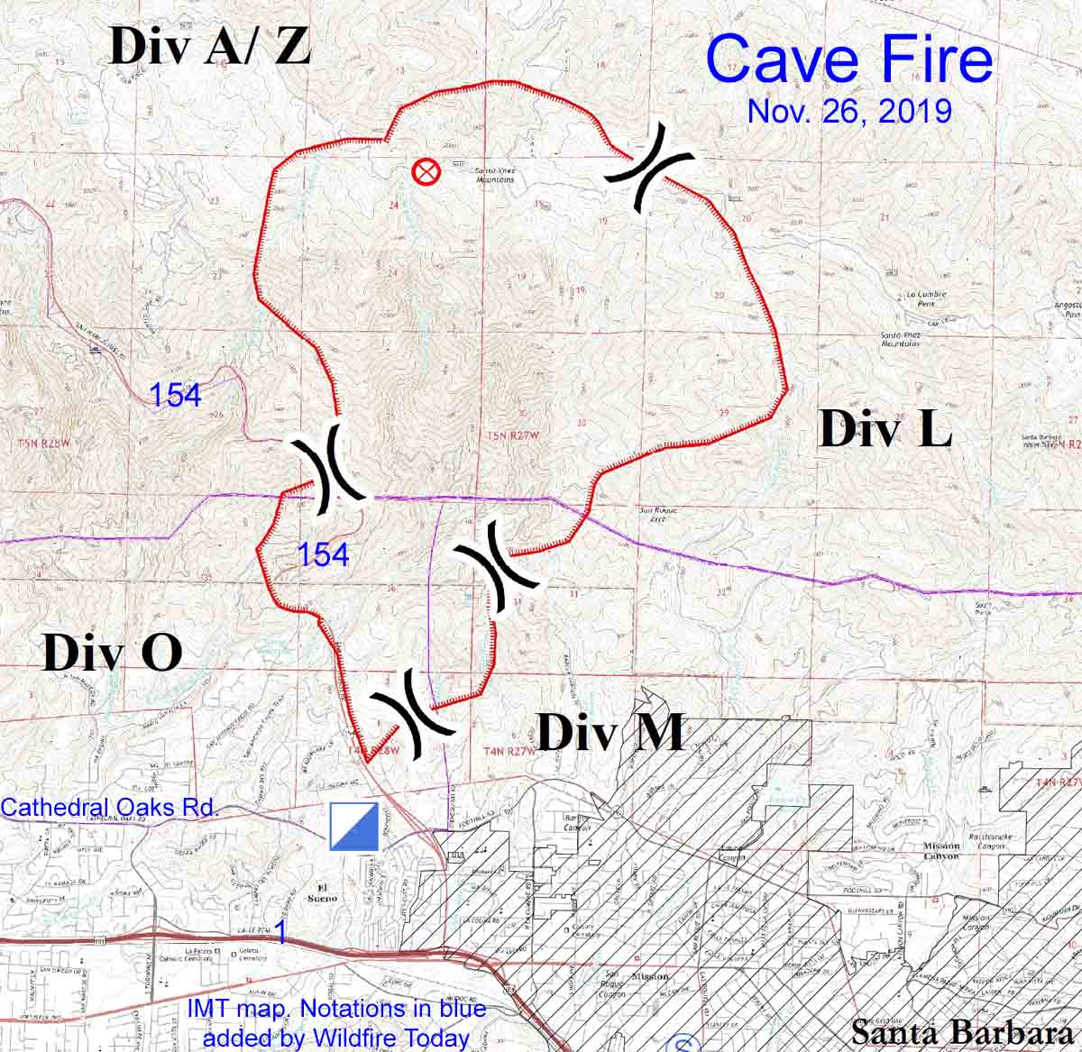 map Cave Fire November 26 2019