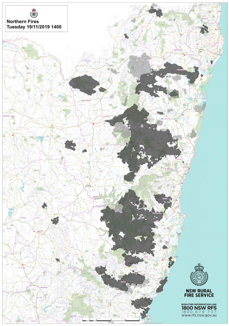 map fires new south wales
