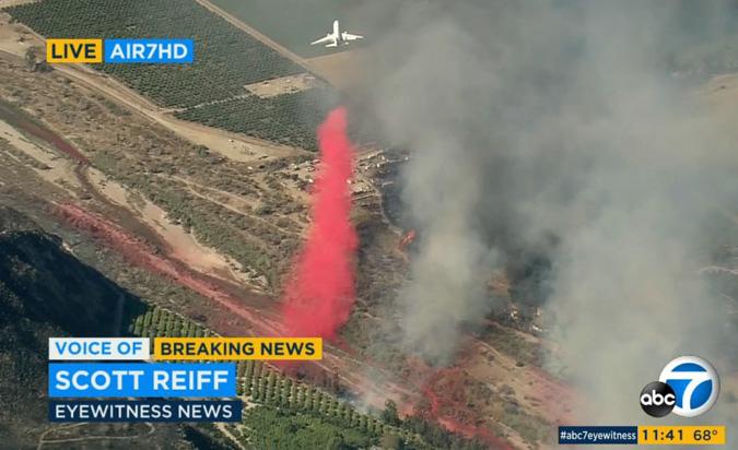 DC-10 air tanker drops Maria Fire