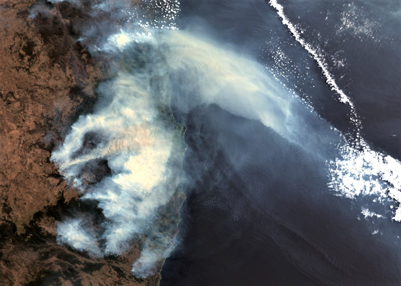 Satellite view of the bushfires New South Wales