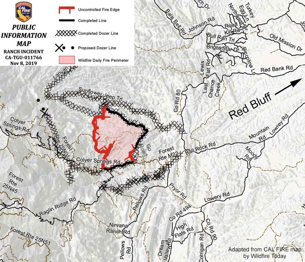 Map of the Ranch Fire November 8, 2019