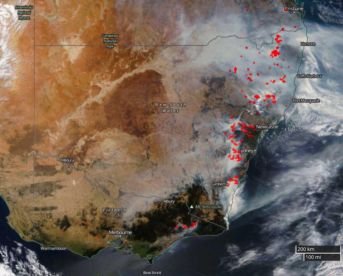 map fires Australia December 19