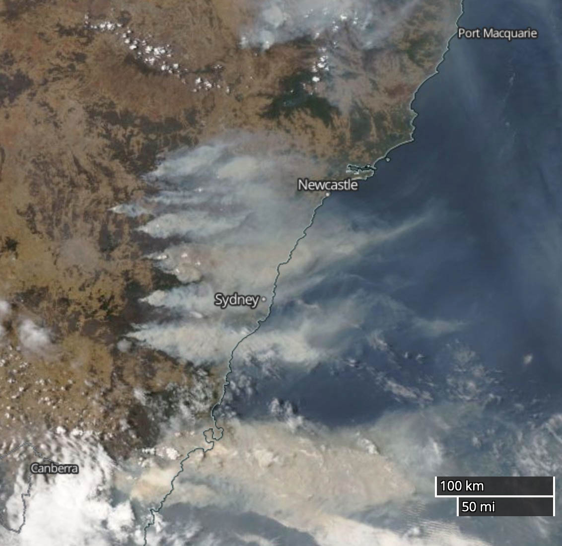 bushfires New South Wales map satellite photo