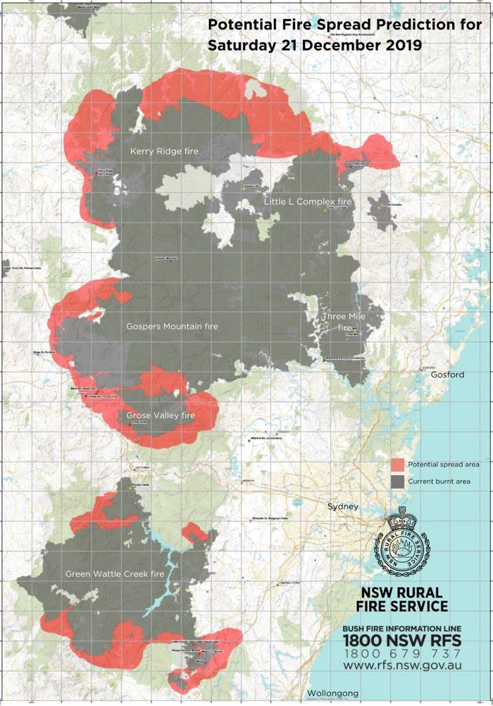 Projected fire spread December 21, 2019