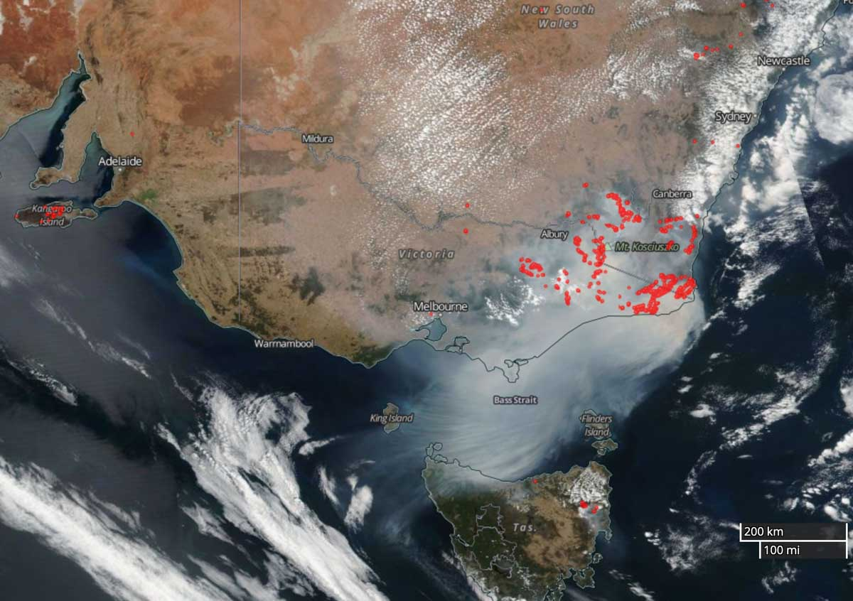 satellite photo map Australia bushfires fires