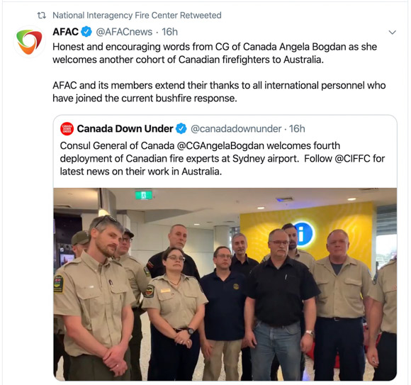 Canadian Firefighters assisting Australia