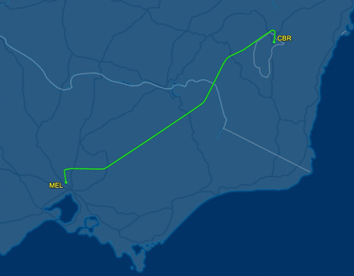 flight path from Canberra to Melbourne