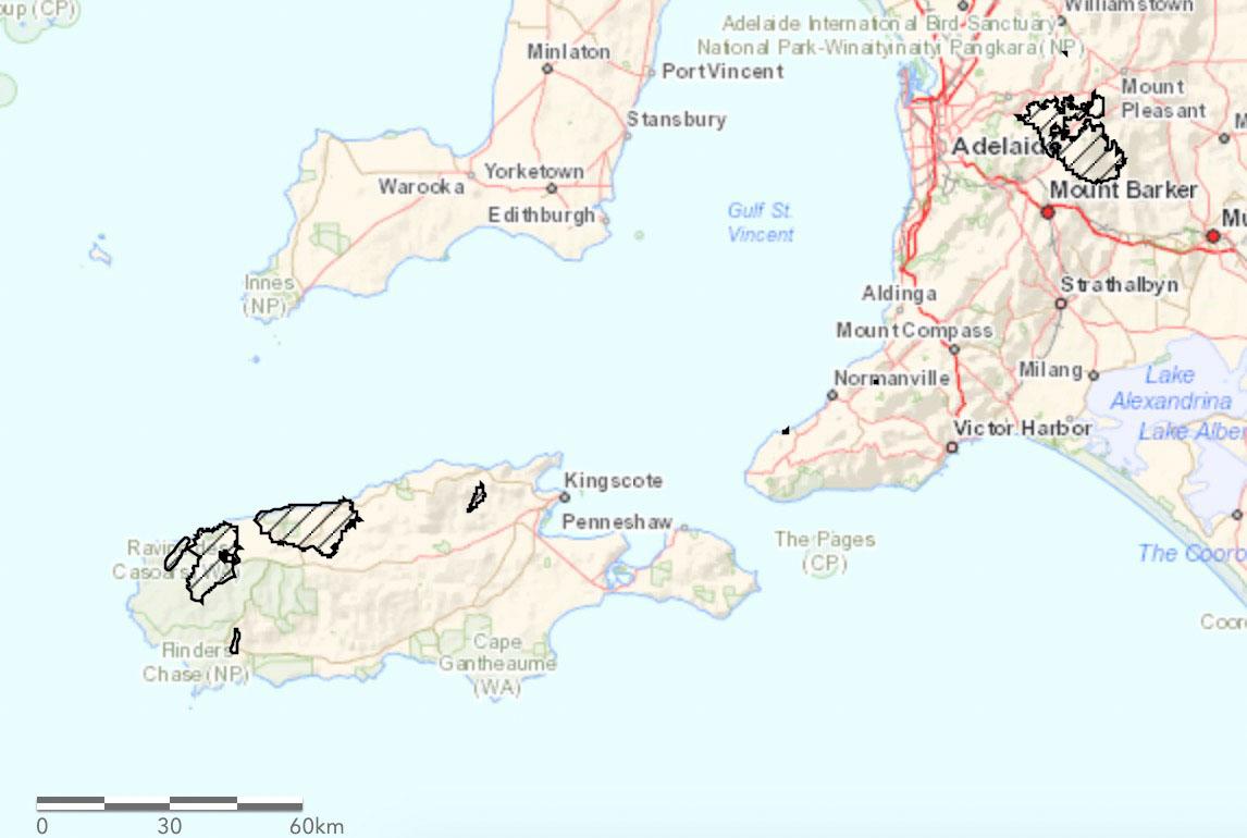 Ravine Fire Kangaroo Island map