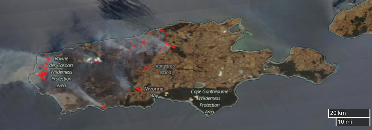 Map Ravine Fire Kangaroo Island satellite photo