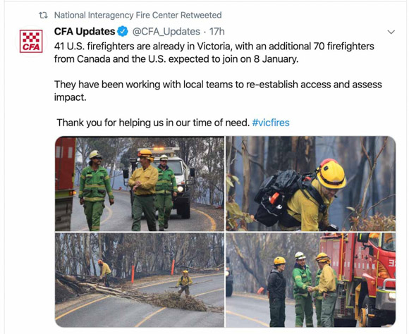 U.S. Firefighters assisting Australia