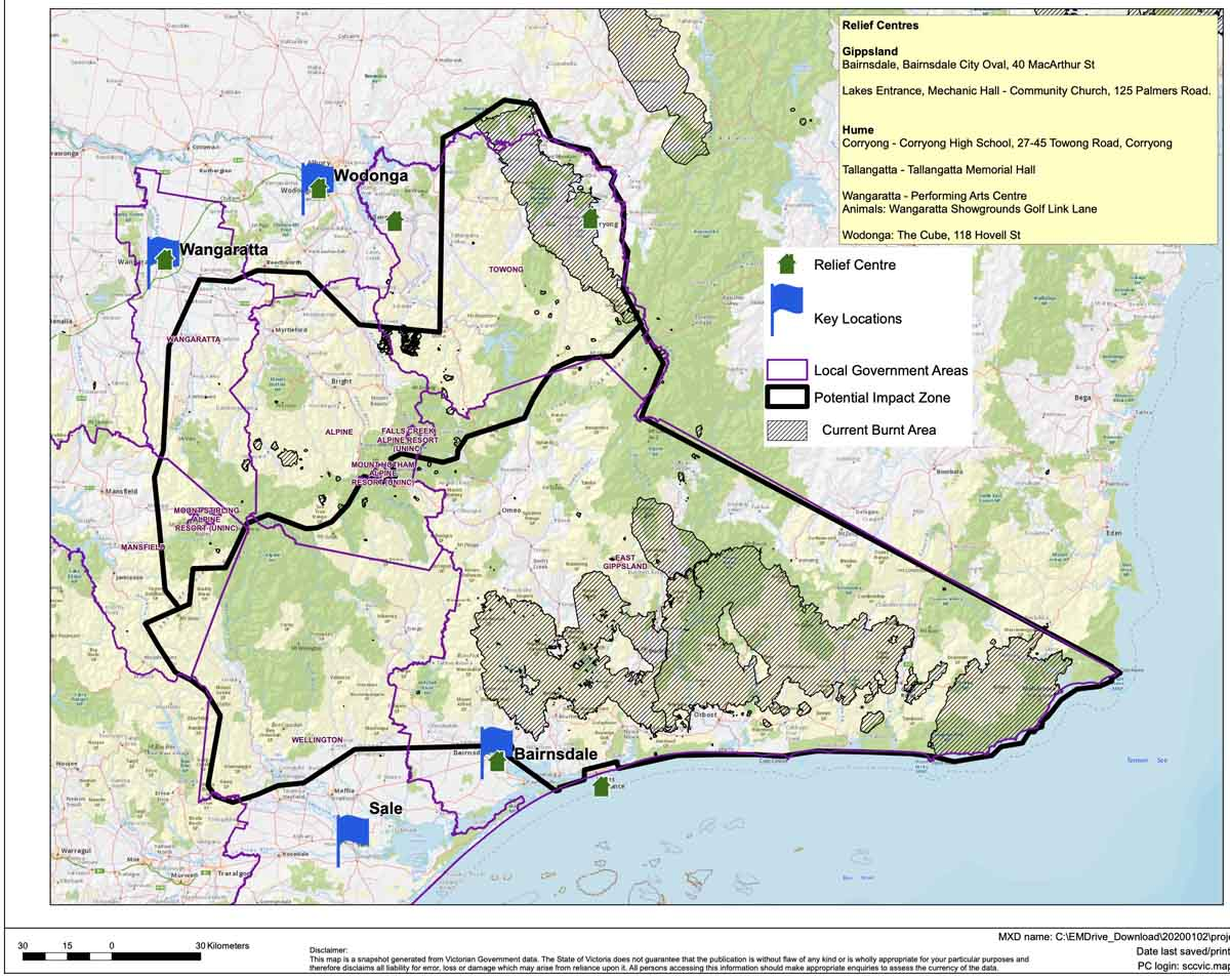 Map fires and areas under threat Eastern Victoria