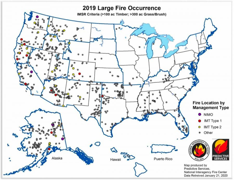 Map showing the occurrence of large wildfires in 2019