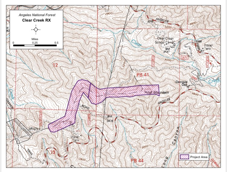 map Prescribed fire fuel break Angeles National Forest