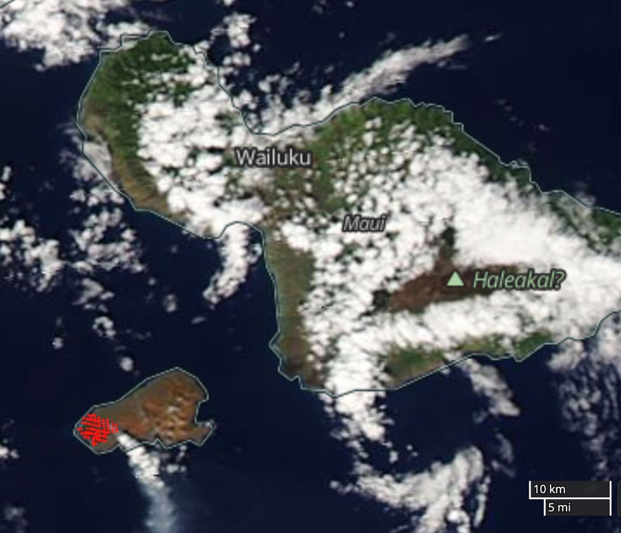 Kahoʻolawe brush fire satellite photo