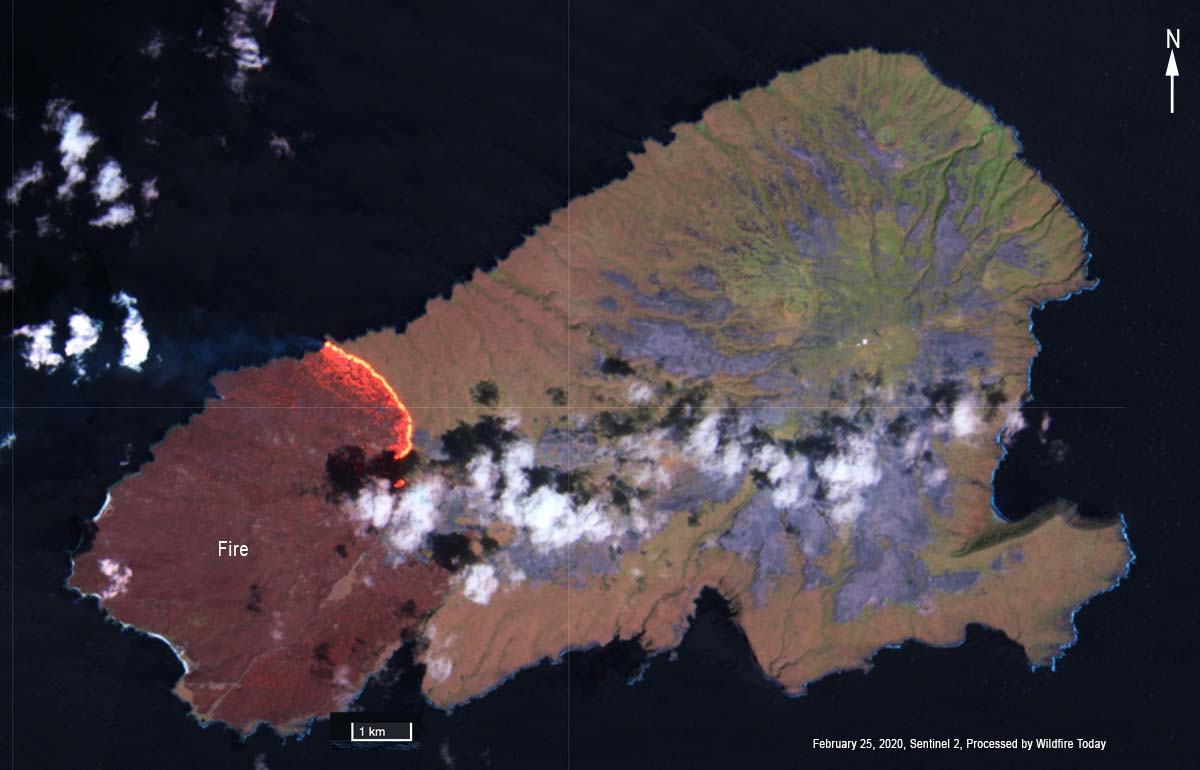 Kaho'olawe Island fire satellite photo map
