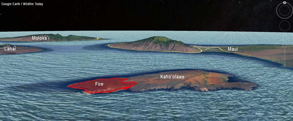 Kaho'olawe Island fire map 3-D