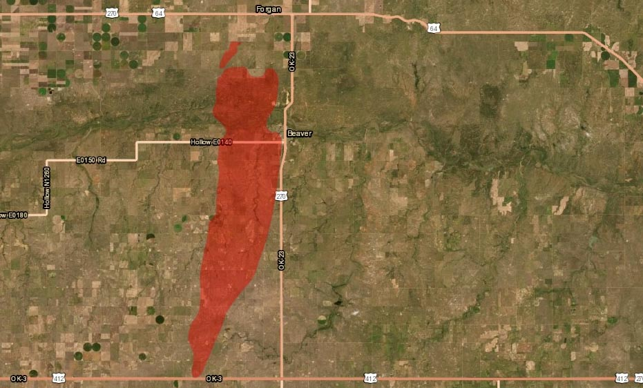 Map 412 Fire in Beaver County, Oklahoma