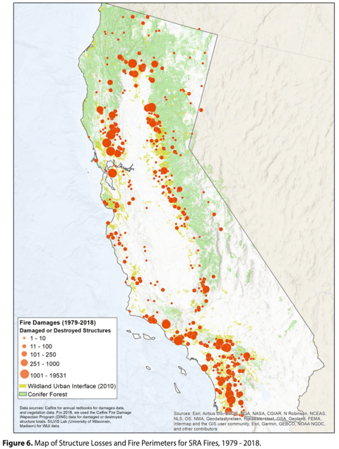 California Map of Structure Losses and Fire Perimeters