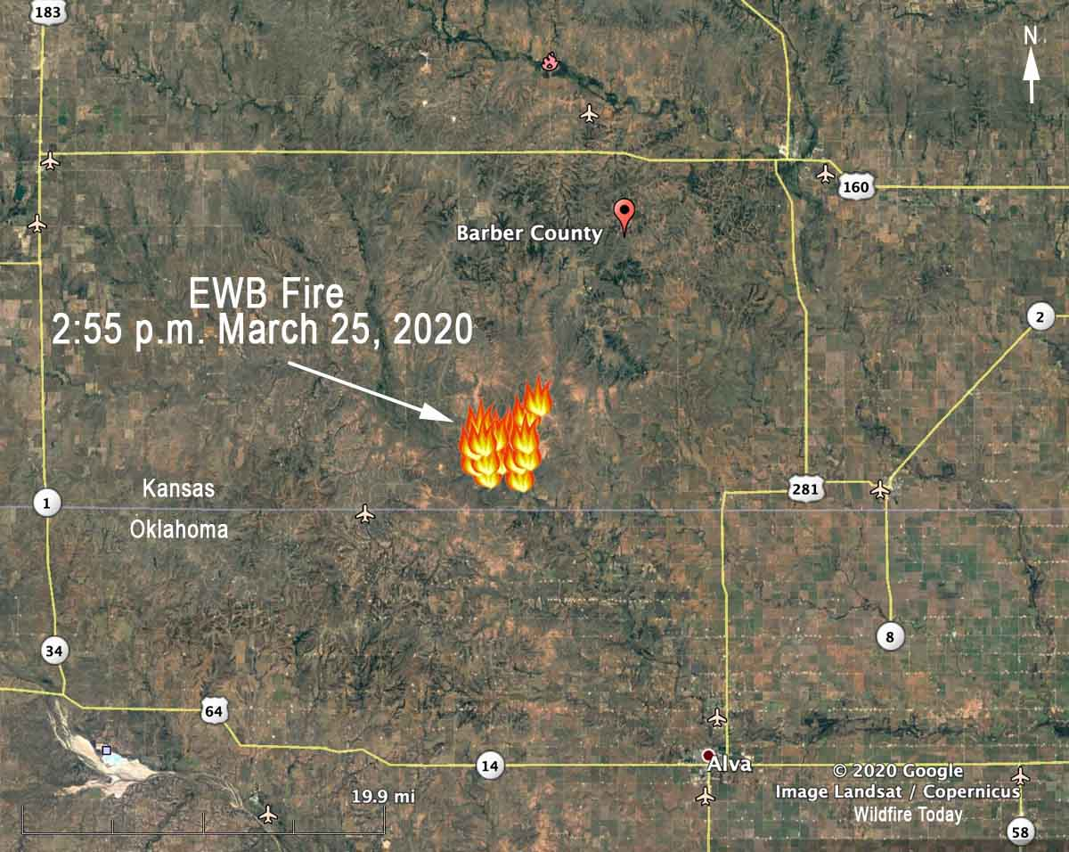 map EWB Fire Barber County Kansas