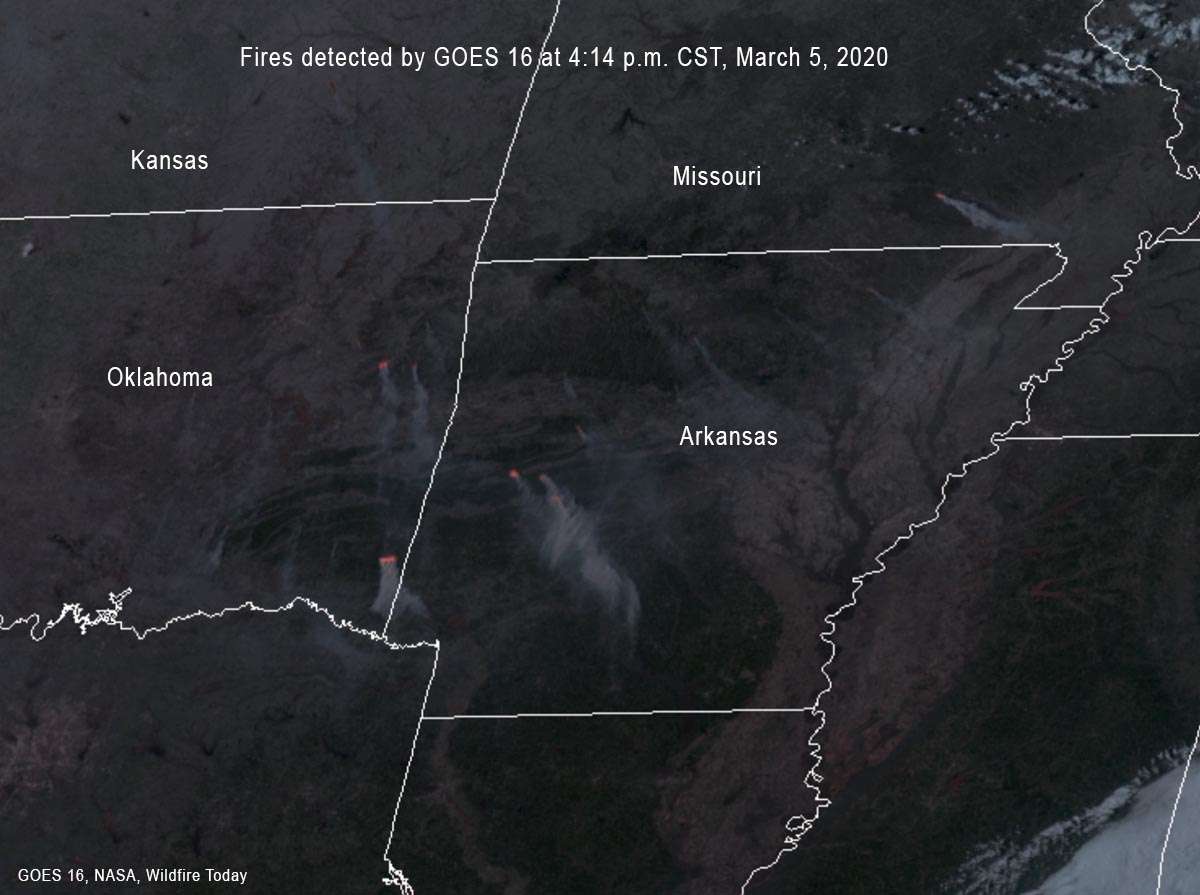 fires and smoke in Arkansas, Oklahoma, and Missouri